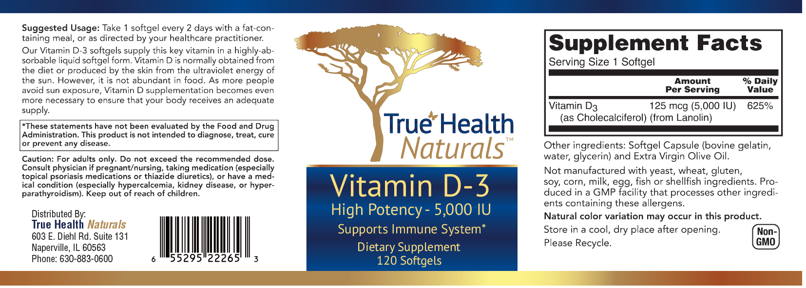 Vitamin D3 capsule label