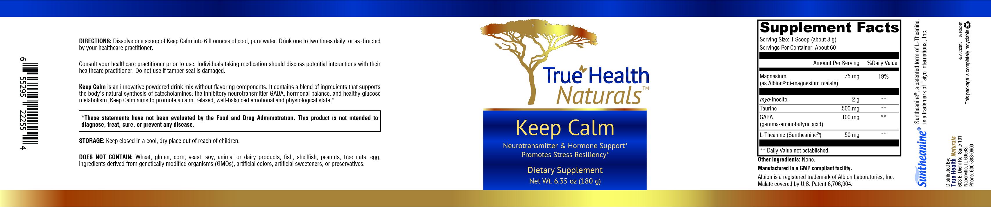 Keep Calm Dietary Supplement Label