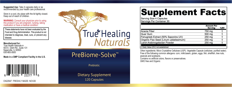 True Healing PreBiome Solve Label